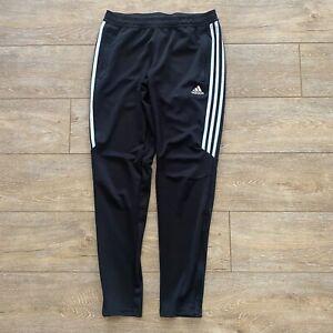 Adidas Boys Athletic Sport Pants Sz Medium 12-14 Black with White 3 Stripe Sides
