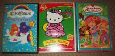 Lot of 3 DVD ~ CARE BEARS + HELLO KITTY + STRAWBERRY SHORTCAKE