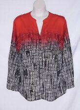 SIZE 3X - CALVIN KLEIN BUTTON UP BLOUSE - RED BLACK BEIGE –ADJ SLEEVES -NEW $106