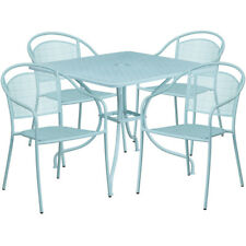 35.5'' Square Sky Blue Indoor-Outdoor Steel Patio Table Set with 4 Round Back.