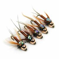 12PCS Fly Fishing Copper John Fly Brass Head Nymph Stone Fly Fishing Trout Bait