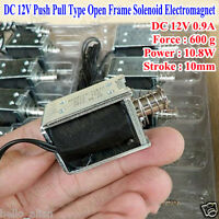 DC 12V Push Pull Type Through impact Open Frame Mini Solenoid Electromagnet 10mm