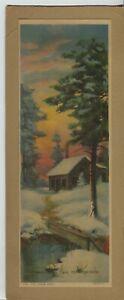 """1920's-40's era Print """"The Cabin Path"""" Creek Winter Scene"""