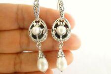 White Shell Pearl Ornate Dangle Drop 925 Sterling Silver Earrings