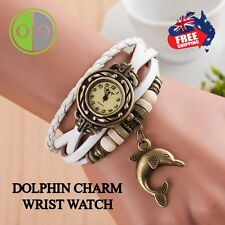 LADIES WRIST WATCH DOLPHIN CHARM - WEAVE STYLE - BRACELET STYLE FASHION - WHITE