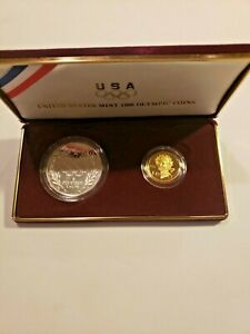 1988 US Mint $1 Silver $5 Gold Olympic Proof 2 Coin Commemorative Set w/ Box COA