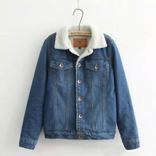 Ladies Fleece Lined Sherpa Denim Jacket Winter Warm Turn Down Collar Coat Button