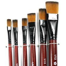 6x Artist Paint Brush Set Lot Nylon Hair Watercolor Acrylic Oil Painting Supply