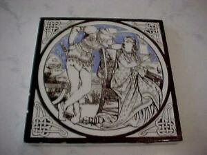 ANTIQUE VICTORIAN MAN AND WOMAN BROWN BORDER TILE