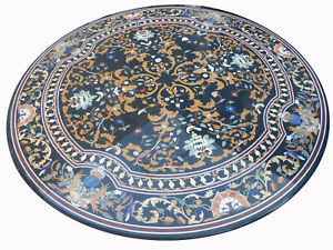 """60"""" Round Marble Center dining Table Top Pietra dura work Inlay Furniture"""