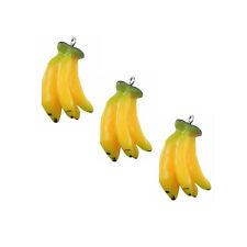 5pcs/lot Yellow Resin Banana Shaped Jewelry Charm Pendants Crafts 35*18*15mm
