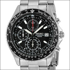Seiko Black Flightmaster Chronograph Watch, Rotating Slide Rule Bezel #SND253