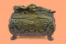 Vintage French Bronze Ormolu Jewelry Casket Box Sculpture Figural Paris Art