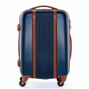 Handgepäck Hartschalen Koffer Trolley Kabinen Bordgepäck 55cm 4 Rollen blau