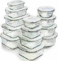 Nice Set of 13 Natural Glass Food Storage Containers Microwave Freezer Oven Safe