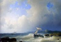 Oil painting abraham hulk snr - a rocky coast seascape with sail boats waves art