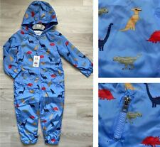 BNWT Mothercare Baby Boys Blue Dinosaur Hooded Waterproof All In One Puddle suit