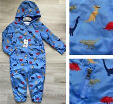 BNWT Mothercare Baby Boys Blue Dinosaur Hooded Pramsuit All In One Puddle suit