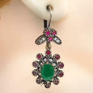 Deco 7.40ctw Emerald, Ruby & Diamond Cut Sapphire 14K Yellow Gold 925 Earrings