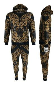 Mens Time Is Money Baroque Print Urban Tracksuit Matching Hoodie Joggers Outfits