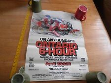 """On Any Sunday II Ontario 6 hour motorcycle race poster 1970's VINTAGE 17x24"""""""