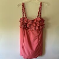 Liz Claiborne Shirred Halter Pink Swimdress One Piece  Size 12 Ruffle Hem