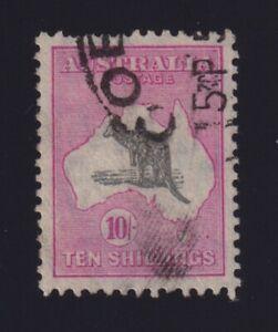 Australia Sc #127 (1932) 10/- pink & grey Kangaroo Used