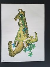 1968 VINTAGE FLOWER POWER POSTER ALLIGATOR WITH BABY GATOR  60s 1960s CROCODILE