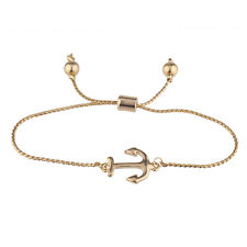 Sea Boat Anchor Pendant Charm Bracelet Lux Accessories Gold Tone Simple Small