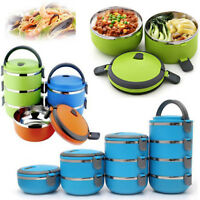 US Bento Box Stainless Steel Thermal Insulated Lunch Food Container 1/2/3/4Layer
