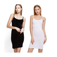 Women Modal Full Slips Bodycon Straight Mini Dress Strap Cami Nightwear Black Wh