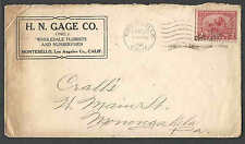 DATED 1921 COVER LOS ANGELES CA H N GAGE CO WHOLESALE FLORISTS & NURSERYMEN