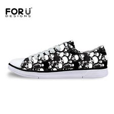 White Skull Womens Lace Up Sneaker Student School Summer Flat Canvas Skate Shoes