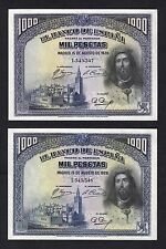 F.C. PAREJA CORRELATIVA 1000 PESETAS 1928 , EBC+ .