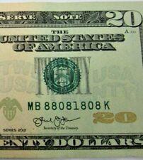 2013 Series Banknote $20 Dollar Bill  Fancy Serial Number 88081808  * 330 *