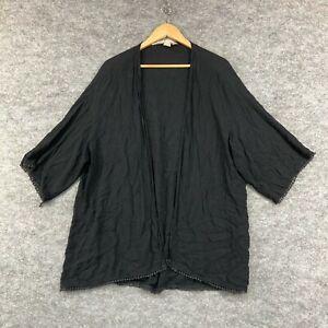 H&M Coachella Womens Top Size L Large Black Short Sleeve Open Front 194.17
