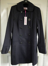 M&S Per Una Navy SZ 10 Cotton Rich Double Breasted Mac, BNWT, Was £79