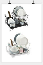 2 Tier Dish Rack Kitchen Drainer Drying Tray Cutlery Holder Organiser Black/Whit