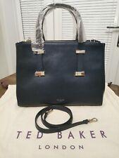 💯 Gen Ted Baker Alexiis Dark blue Leather Bow Adjustable Handle Large Tote Bag