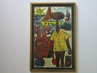 CAROL HANSEN WAGNER  PAINTING VINTAGE BEACH  EXPRESSIONIST AMERICAN CA LISTED