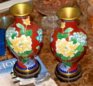 """PAIR of Vintage Cloisonne Enamel Brass Vases with Wood Stands 10-3/4"""" Tall"""