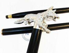 Chrome Walking Stick Fox Head Cane Brass Victorian Wooden Rose Wood Cane Vintage