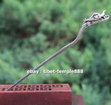 18 CM Chinese Bronze Gild Handwork Women Girl Dragon Head hair clasp hairpin