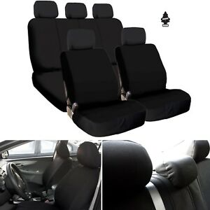 For Jeep New Black Flat Cloth Car Truck Seat Covers Full Set Airbag Compatible