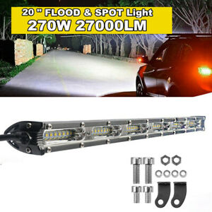 "20"" 27000LM Straight Single Row LED Light Bar Spot Flood Combo Beam Work Light"