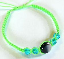 Bracelet brésilien Friendship ajustable Amitié Strass Perles Verre vert fluo