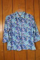 Liz Claiborne Women Size L Blue and Purple Floral Button up Shirt 3/4 sleeve