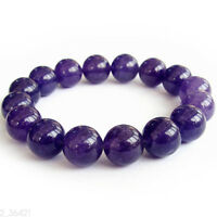 12mm Purple Jade Tibet Buddhist Prayer Beads Mala Bracelet Body Accessories Gift
