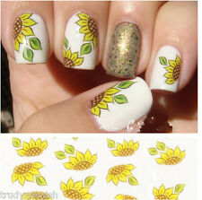 Nail Art Water Decals Transfers Yellow Sunflowers Flowers Gel Polish (144)