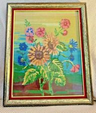 Vtg Needlepoint Sunflowers Flowers Wood Frame Picture